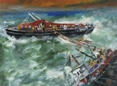 Roy DAVEY (British 1946-2019)The Rescue, Acrylic on board, Signed, titled, dated verso together