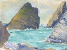 Elizabeth Lamorna KERR (British 1905-1990) Kynance Cover, Oil on canvas board, Signed by artist's