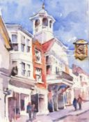 Paul HOARE (British b. 1952)What's the Time - Guildhall Guildford, Watercolour, Signed lower right,