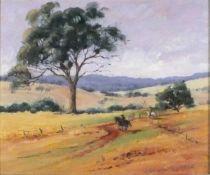 Carolyn CLARKE (Australian 20th/21st Century)Cowboys in Landscape with Gum Tree, Oil on board,