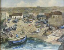 """Dorcie SYKES (British 1908-1998)Sennen Harbour, Watercolour, Signed lower left, 14.5"""" x 18"""" (37cm x"""