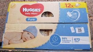 BOX OF HUGGIES BABY WIPES