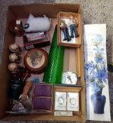 CARTON CONTAINING GREEN VASE ON PEDESTAL BASE, PLAYING CARDS, SMOKING PIPES, RESIN FIGURES AND A