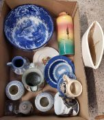 TWO CARTONS OF MIXED CHINAWARE INCLUDING VASES, JUGS, PLATES AND BOWLS