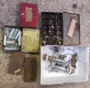 TWO SMALL CARTONS OF TINS CONTAINING MISCELLANEOUS SMALL PARTS, BOLTS SCREWS, ETC. AND A SET OF
