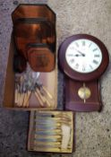 CARTON OF COPPER COLOURED PLACE MATS OF NAUTICAL SCENES, FISH KNIVES AND FORKS, BONE HANDLED
