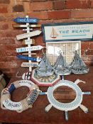 QUANTITY OF NAUTICAL THEME ITEMS INCLUDING A SIGN, LIFE GUARD ON DUTY AND A DISPLAY TRAY OF SEA