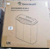 BONSAII DOCSHRED S120-C SHREDDER. NEW IN BOX