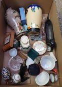 TWO CARTONS OF MIXED CHINA WARE INCLUDING VASES, SMALL CLK, TWO STETHOSCOPES, A SME REEL, CCE BAG, A
