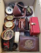 TWO CARTONS OF MIXED BRIC-A-BRAC INCLUDING A LEATHER MOUNTED WEATHER STATION, LEATHER PLACE MATS,