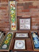 SIX MODERN WOOD FRAMED TILES AND TRAYS WITH HANDLES, SUITABLE FOR WALL HANGING