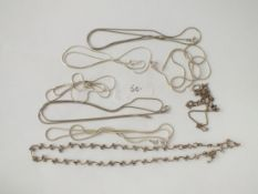 Eight silver chains - 31gms