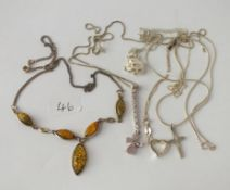 A silver & amber necklace & other silver items