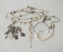 A silver & pearl necklace etc.