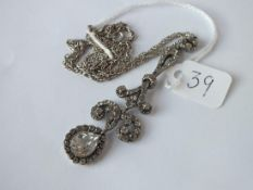 An antique silver & paste pendant on silver chain