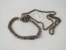 A silver rope twist necklace & flat link bracelet - 41gms
