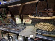 SHELF WITH CAST IRON CAT DOOR STOP, CHESTNUT ROASTER, BASKET WITH METAL HANDLE, METAL JUG & CANDLE