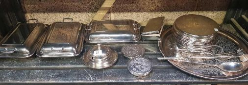 SHELF CONTAINING 3 PLATED METAL TUREEN DISHES, CIGARETTE BOX, PLATED TRAY WITH PLATED PLACE MAT &