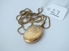 A pendant locket neck chain in 9ct - 6.9gms