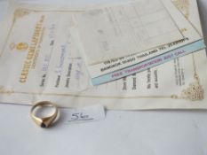 A sapphire ring in 14ct gold with paperwork - 4.4gms