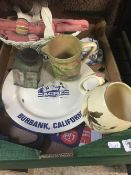 CARTON WITH BLUE PLATE SPECIAL BURBANK CALIFORNIA PLATE, JUGS, METAL TEA CADDY, NAPKIN RINGS WITH