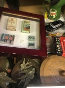 DISPLAY OF VINTAGE CIGARETTE PACKETS, A CASTROL OIL CAN, BUTTONS & BRIC-A-BRAC