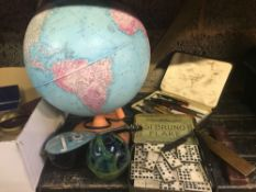CARTON WITH DESK GLOBE, TIN OF DOMINO'S GLASS PAPERWEIGHTS, INK DIP PENS & OLD TINS