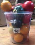 TUB OF MISC SNOOKER, BILLIARD, POOL BALLS