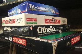 4 BOXES OF BOARD GAMES INCL; MONOPOLY & SCRABBLE