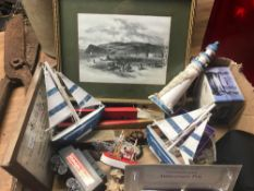 CARTON WITH MIXED BRIC-A-BRAC INCL; SMALL DECORATIVE NAUTICAL ITEMS, PLAY WORN CARS ETC
