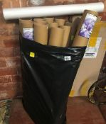A BAG WITH 12 TUBES OF PRIMED 24'' X 3MTR CANVASES & CARTON OF 4 MAGNOLIA WALL PAPER