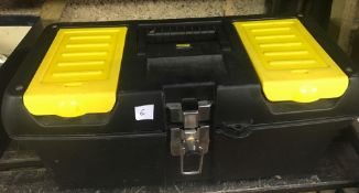BLACK & YELLOW PLASTIC TOOL BOX WITH CONTENTS