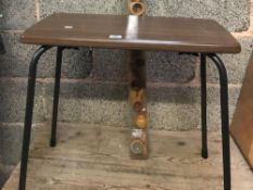 28MM DIAMETER WOOD POLE WITH RINGS & WOOD & METAL STOOL