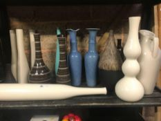 SHELF OR TALL STUDIO STYLE VASES, 1 VASE A/F