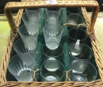 WICKER BASKET GLASS CARRIER WITH 15 VARIOUS GLASSES