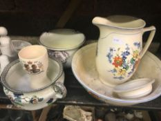 SHELF OF CHINAWARE INCL; CHAMBER POTS, JUG & BASIN WASH SET & OTHER CHINAWARE
