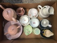 2 CARTONS OF MIXED CHINA, PLATES, MUGS, CUPS ETC