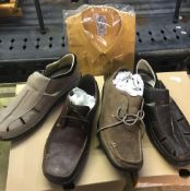 4 PAIRS OF SIZE 12 TIMBERLAND MEN'S SHOES, NEW IN BOXES & A MUSTARD COLOURED SHIRT IN PACKET