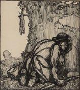 Jack Butler Yeats RHA (1871-1957) RABBITING ink signed upper right; original Dawson Gallery label on