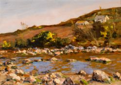 James Humbert Craig RHA RUA (1877-1944) RIVER SCENE WITH COTTAGES AND GORSE oil on board signed