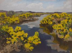 Letitia Marion Hamilton RHA (1878-1964) GORSE oil on panel signed with initials lower right;
