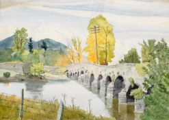 Harry Kernoff RHA (1900-1974) WOMAN ON A BRIDGE, 1943 watercolour signed and dated lower 10.50 by