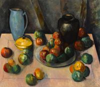 Peter Collis RHA (1929-2012) STILL LIFE WITH PEWTER PLATE oil on canvas signed lower right; with