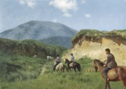 Patrick Hennessy RHA (1915-1980) MOUNTAIN TREK oil on canvas signed lower left 25 by 35in. (63.5