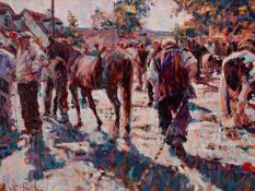 Arthur K. Maderson (b.1942) IN TOW (TALLOW HORSE FAIR), COUNTY WATERFORD oil on board signed lower