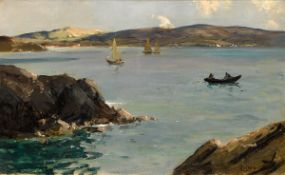 James Humbert Craig RHA RUA (1877-1944) BOATS AT SEA oil on canvas signed lower right 16 by 26in. (