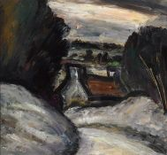 Peter Collis RHA (1929-2012) SNOW IN MEATH oil on board signed lower left; with artist's studio