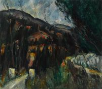 Peter Collis RHA (1929-2012) LANDSCAPE AT KNOCKREE, COUNTY WICKLOW oil on canvas signed lower right;