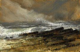 Derek Hill CBE HRHA (1916-2000) ROUGH SEA, CLASSIEBAWN, COUNTY SLIGO oil on board signed with