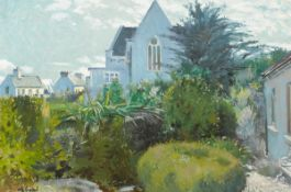 Maurice MacGonigal PPRHA HRA HRSA (1900-1979) LANDSCAPE WITH CHURCH, ROUNDSTONE, 1962 oil on board